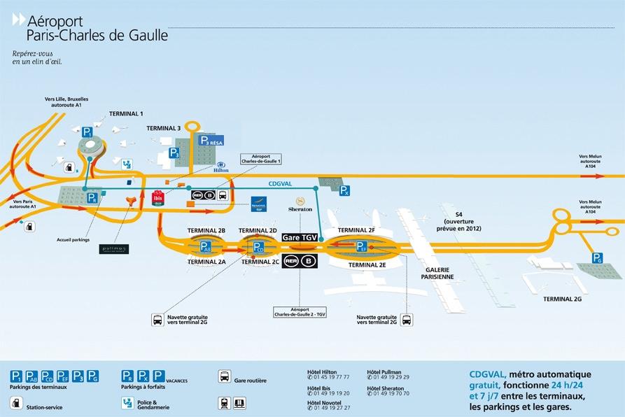 План аэропорта Руасси Шарль де Голль